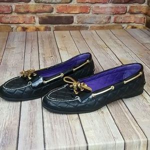 Sperry Top-Slider black gold purple size 11